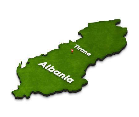 territory: Illustration of a green ground map of Albania on white isolated background. Left 3D isometric perspective projection with the name of country and capital Tirana.