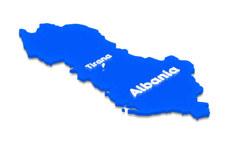Illustration of a blue ground map of Albania on white isolated background. Right 3D isometric perspective projection with the lighting name of country and capital Tirana. Stock Photo
