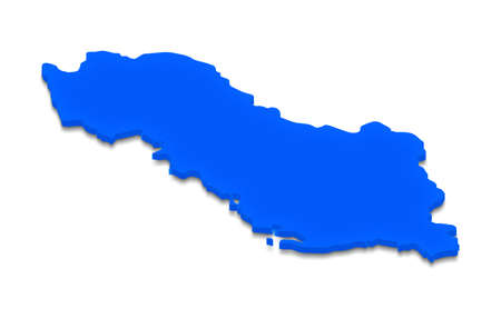 Illustration of a blue ground map of Albania on white isolated background.  Right 3D isometric perspective projection. Stock Photo
