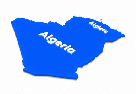 Illustration of a blue ground map of Algeria on grid background. Left 3D isometric perspective projection with the lighting name of country and capital Algiers.