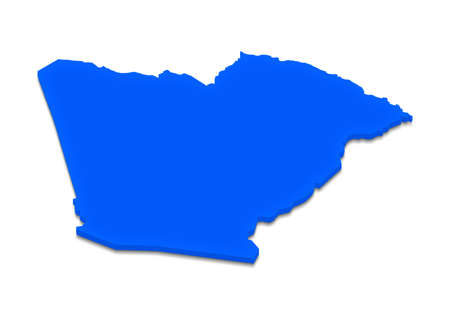 Illustration of a blue ground map of Algeria on white isolated background. Left 3D isometric perspective projection.