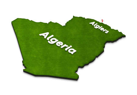 Illustration of a green ground map of Algeria on white isolated background. Left 3D isometric perspective projection with the name of country and capital Algiers. Stock Photo