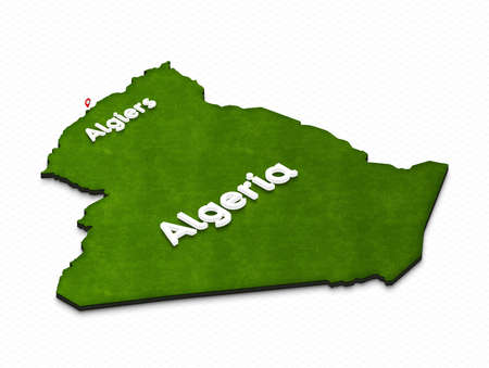 Illustration of a green ground map of Algeria on grid background. Right 3D isometric perspective projection with the name of country and capital Algiers. Stock Photo