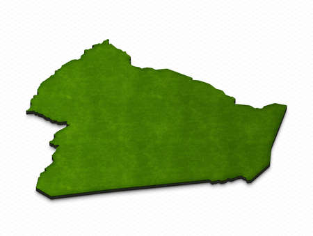 Illustration of a green ground map of Algeria on grid background. Right 3D isometric perspective projection.