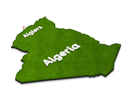 Illustration of a green ground map of Algeria on white isolated background. Right 3D isometric perspective projection with the name of country and capital Algiers. Stock Photo