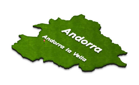 Illustration of a green ground map of Andorra on white isolated background. Left 3D isometric perspective projection with the name of country and capital Andorra la Vella.