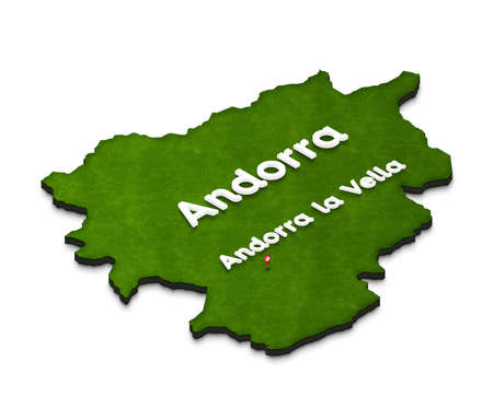 Illustration of a green ground map of Andorra on white isolated background. Right 3D isometric perspective projection with the name of country and capital Andorra la Vella.
