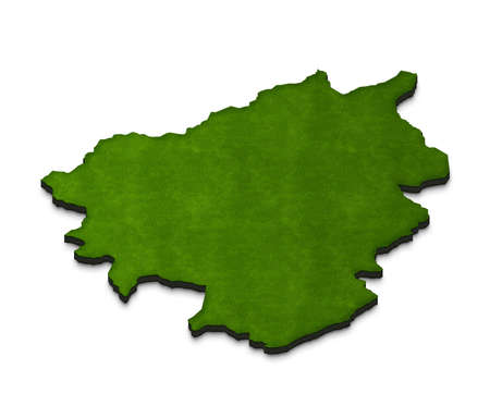 Illustration of a green ground map of Andorra on white isolated background. Right 3D isometric perspective projection. Stock Photo