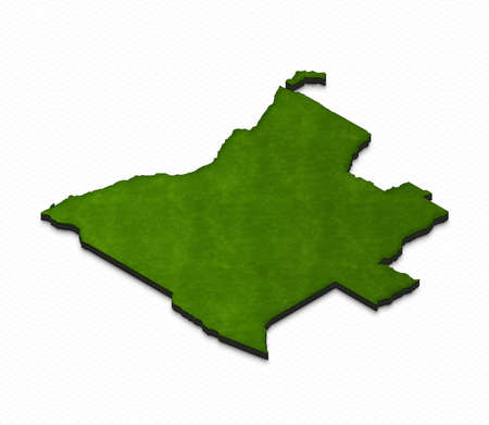 middle: Illustration of a green ground map of Angola on grid background. Left 3D isometric perspective projection. Stock Photo