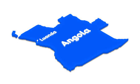 middle: Illustration of a blue ground map of Angola on white isolated background. Right 3D isometric perspective projection with the lighting name of country and capital Luanda.