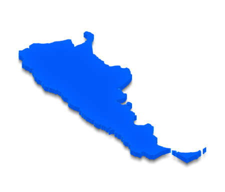 aires: Illustration of a blue ground map of Argentina on white isolated background. Right 3D isometric perspective projection.