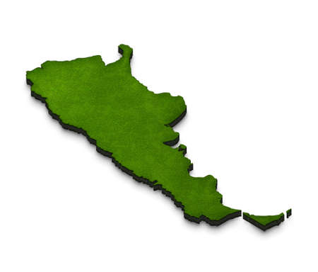 Illustration of a green ground map of Argentina on white isolated background. Right 3D isometric perspective projection. Stock Photo