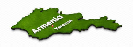 Illustration of a green ground map of Armenia on grid background. Right 3D isometric perspective projection with the name of country and capital Yerevan.