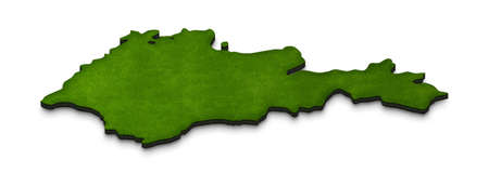Illustration of a green ground map of Armenia on white isolated background. Right 3D isometric perspective projection. Stock Photo