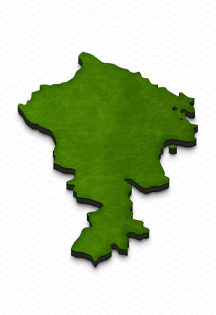 Illustration of a green ground map of Armenia on grid background. Left 3D isometric perspective projection.