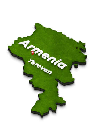 Illustration of a green ground map of Armenia on white isolated background. Left 3D isometric perspective projection with the name of country and capital Yerevan.