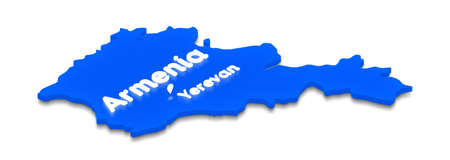Illustration of a blue ground map of Armenia on grid background. Right 3D isometric perspective projection with the lighting name of country and capital Yerevan.