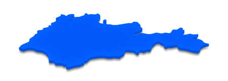 Illustration of a blue ground map of Armenia on white isolated background. Right 3D isometric perspective projection. Stock Photo