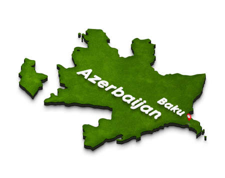 Illustration of a green ground map of Azerbaijan on white isolated background. Left 3D isometric perspective projection with the name of country and capital Baku.