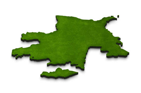 baku: Illustration of a green ground map of Azerbaijan on white isolated background. Right 3D isometric perspective projection.