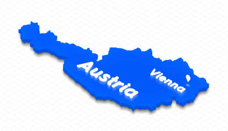 Illustration of a blue ground map of Austria on grid background. Left 3D isometric perspective projection with the lighting name of country and capital Vienna.