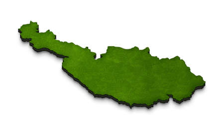 Illustration of a green ground map of Austria on white isolated background. Left 3D isometric perspective projection.