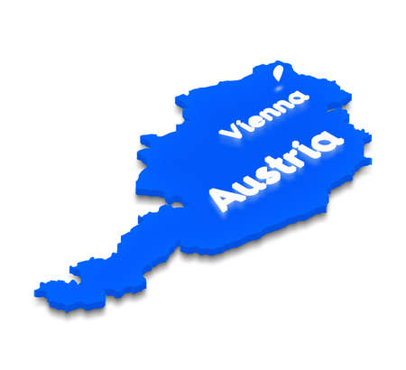Illustration of a blue ground map of Austria on white isolated background.  Right 3D isometric perspective projection with the lighting name of country and capital Vienna. Stock Photo