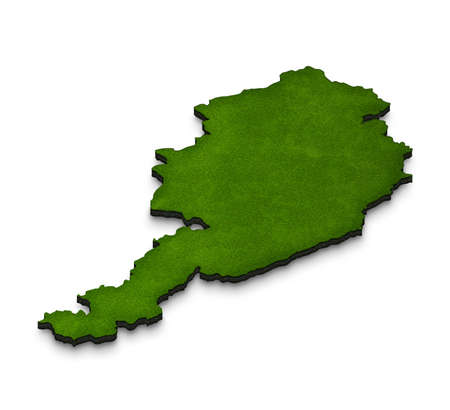 Illustration of a green ground map of Austria on white isolated background. Right 3D isometric perspective projection. Stock Photo