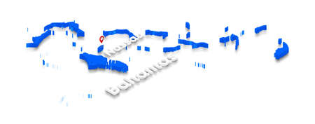 Illustration of a blue ground map of Bahamas on white isolated background. Right 3D isometric perspective projection with the name of country and capital Nassau. Stock Photo