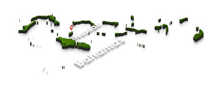 Illustration of a green ground map of Bahamas on white isolated background. Right 3D isometric perspective projection with the name of country and capital Nassau. Stock Photo