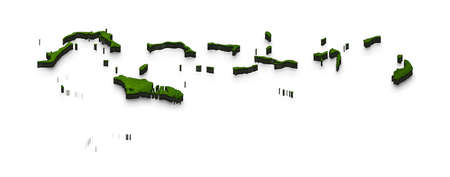 Illustration of a green ground map of Bahamas on white isolated background. Right 3D isometric perspective projection.