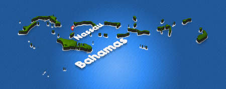 Illustration of a green ground map of Bahamas on water background. Right 3D isometric perspective projection with the name of country and capital Nassau.