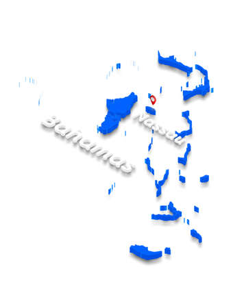 Illustration of a blue ground map of Bahamas on white isolated background. Left 3D isometric perspective projection with the name of country and capital Nassau.