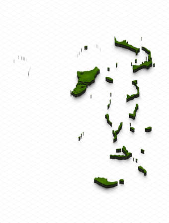 Illustration of a green ground map of Bahamas on grid background. Left 3D isometric perspective projection.