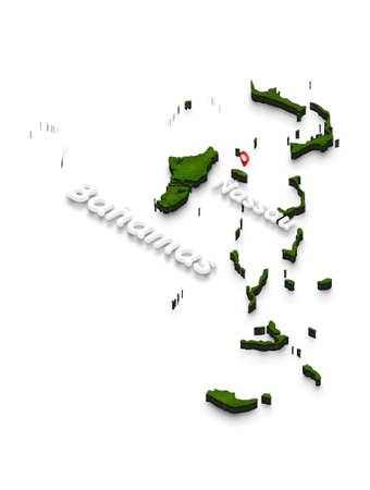 Illustration of a green ground map of Bahamas on white isolated background. Left 3D isometric perspective projection with the name of country and capital Nassau. Stock Photo