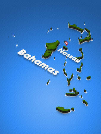 Illustration of a green ground map of Bahamas on water background. Left 3D isometric perspective projection with the name of country and capital Nassau.