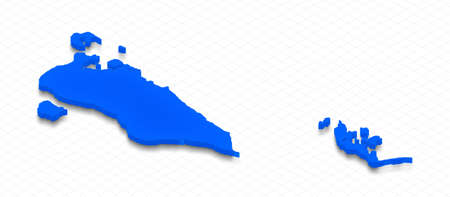 Illustration of a blue ground map of Bahrain on grid background. Right 3D isometric perspective projection.