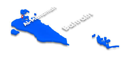 Illustration of a blue ground map of Bahrain on white isolated background. Right 3D isometric perspective projection with the name of country and capital Al-Manamah. Stock Photo