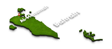 Illustration of a green ground map of Bahrain on white isolated background. Right 3D isometric perspective projection with the name of country and capital Al-Manamah.