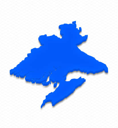 Illustration of a blue ground map of Bangladesh on grid background. Left 3D isometric perspective projection.