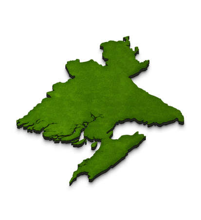Illustration of a green ground map of Bangladesh on white isolated background. Left 3D isometric perspective projection.