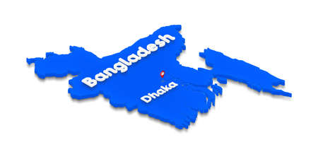 Illustration of a blue ground map of Bangladesh on white isolated background. Right 3D isometric perspective projection with the name of country and capital Dhaka.