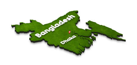 Illustration of a green ground map of Bangladesh on white isolated background. Right 3D isometric perspective projection with the name of country and capital Dhaka.