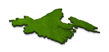 Illustration of a green ground map of Bangladesh on white isolated background. Right 3D isometric perspective projection.