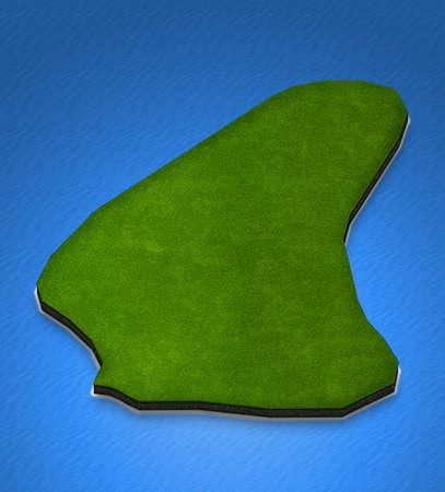Illustration of a green ground map of Barbados on water background. Left 3D isometric perspective projection. Stock Photo