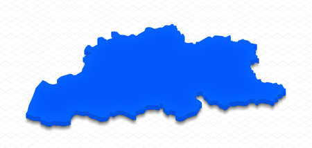 Illustration of a blue ground map of Belgium on grid background. Right 3D isometric perspective projection. Stock Photo