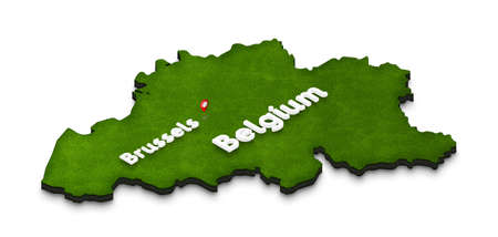 Illustration of a green ground map of Belgium on white isolated background. Right 3D isometric perspective projection with the name of country and capital Brussels. Stock Photo