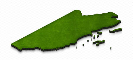 Illustration of a green ground map of Belize on grid background. Left 3D isometric perspective projection.