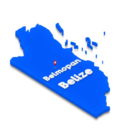territory: Illustration of a blue ground map of Belize on white isolated background. Right 3D isometric perspective projection with the name of country and capital Belmopan.