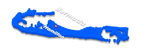 Illustration of a blue ground map of Bermuda on white isolated background. Left 3D isometric perspective projection with the name of country and capital Hamilton.